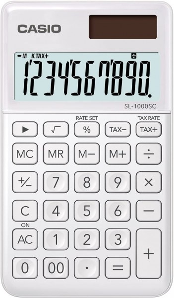 Casio SL-1000SC-WE stylischer Taschenrechner, 10-stellig, in sechs Farbvarianten, WEISS