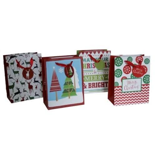 Weihnachtliche Geschenktragetasche - 1 Stück, sortiert, 18 x 23 x 10 cm