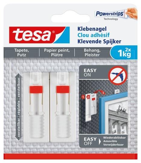 tesa Klebenagel verstellbar, Tapete & Putz, 2 x 1 kg