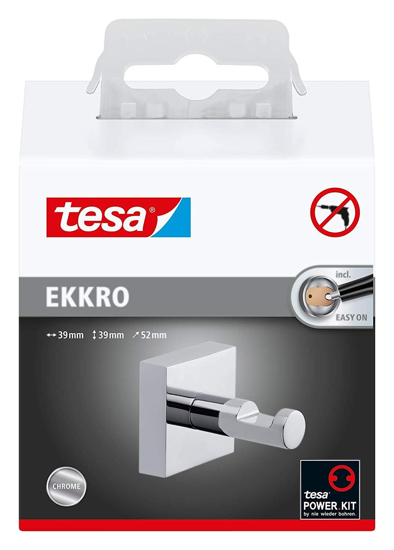 Vorschau: Tesa ekkro Handtuchhaken (hochglanzverchromt, inkl. Klebelösung, hohe Haltekraft (bis 4kg), 39mm x 3