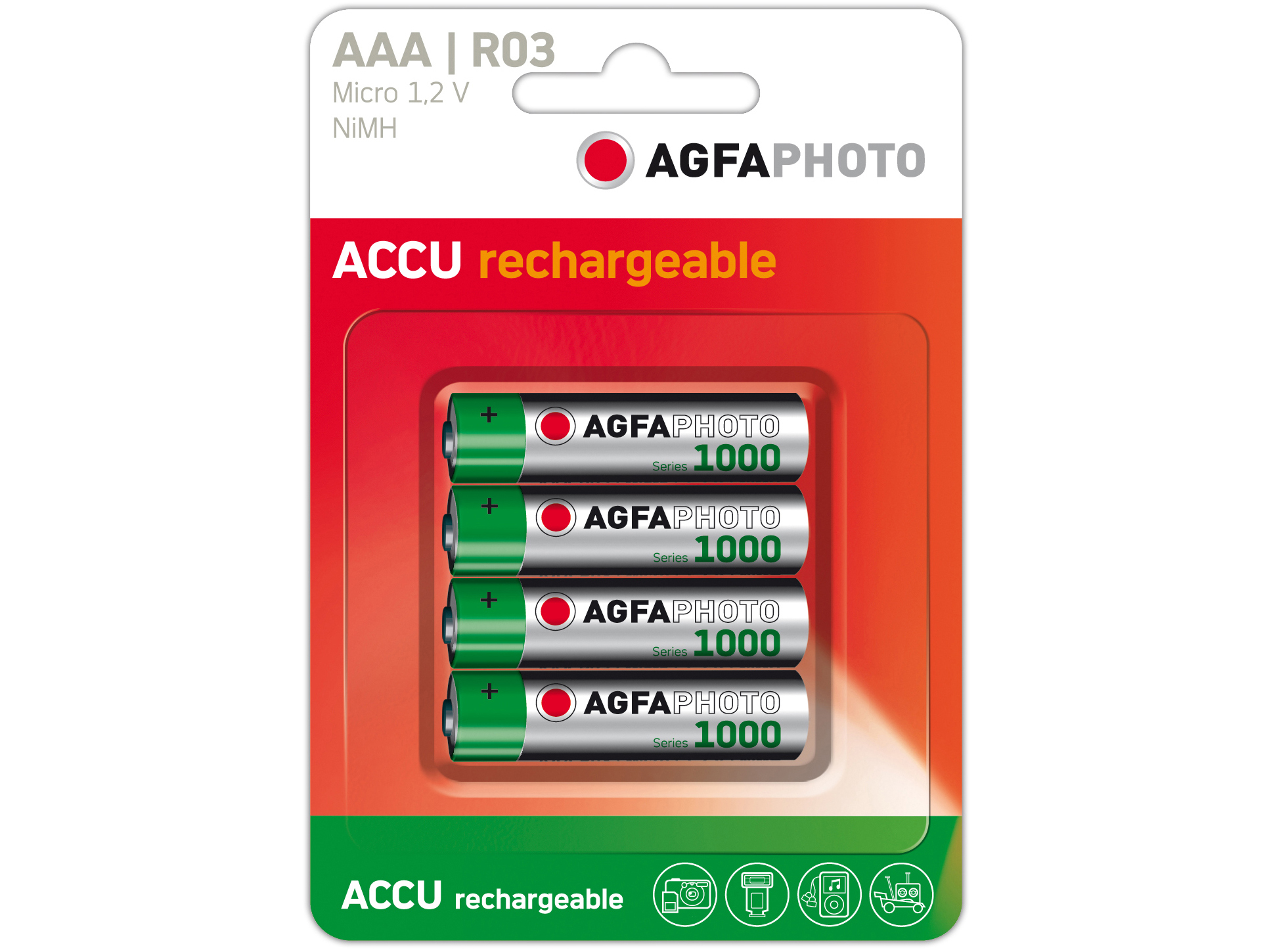 Agfa Photo Akkus AAA LR3 1,2V NiMh 4er Pack