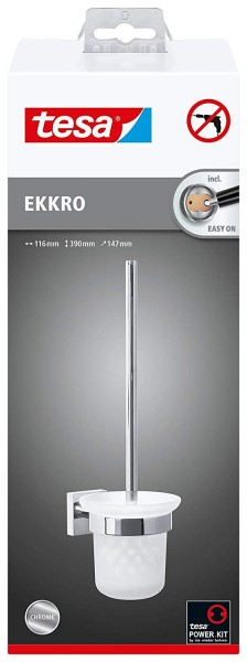 Tesa ekkro WC-Bürstengarnitur (NICHT BOHREN, verchromter Edelstahl, inkl. Klebelösung für die Wandmo