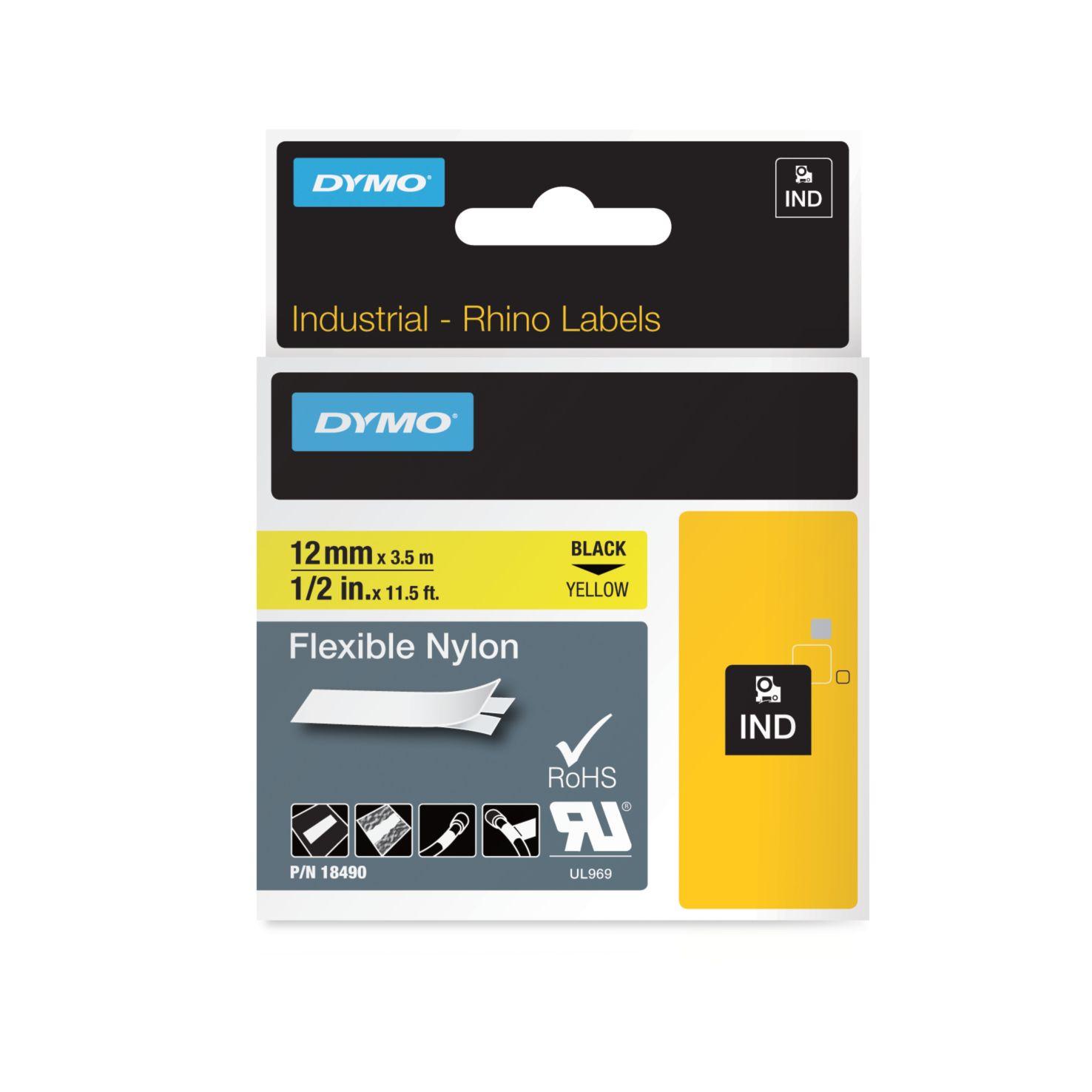 Dymo Rhino-Schriftband Nylon 12mm x 3,5m schwarz auf gelb