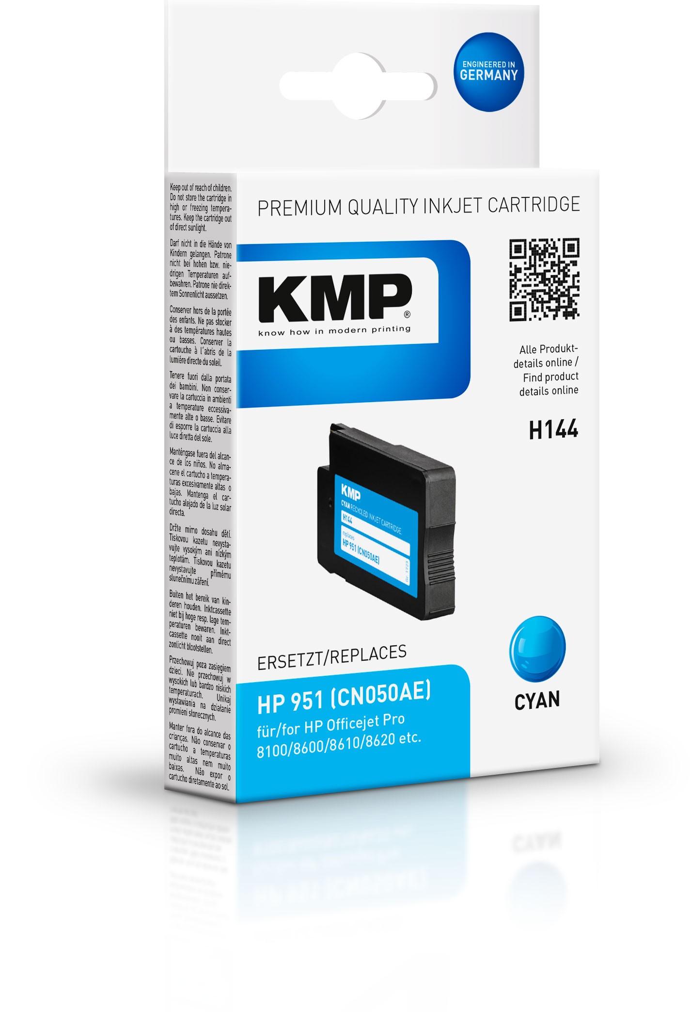 KMP Patrone H144 für CN050AE HP 951 Officejet Pro 8100 etc. cyan pig.