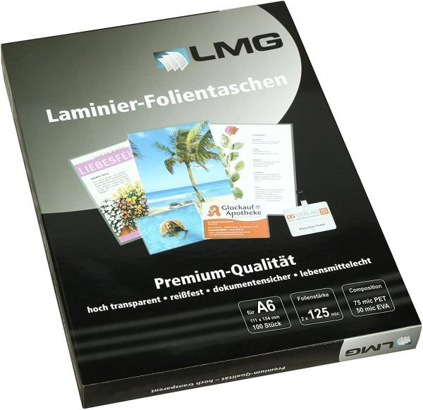 LMG LMGA6-125 Laminierfolien A6, 111 x 154 mm, 2 x 125 mic, 100 Stück