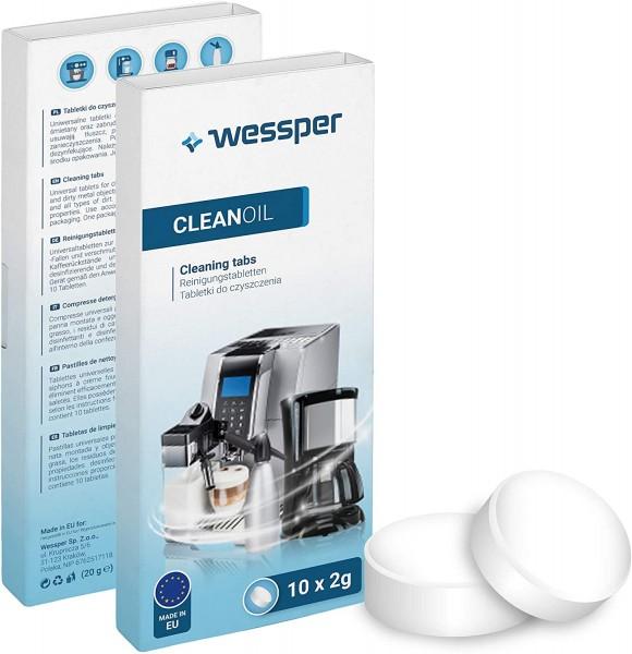 Wessper 10 Stück Reinigungstabletten für alle Kaffeevollautomaten und Kaffeemaschinen