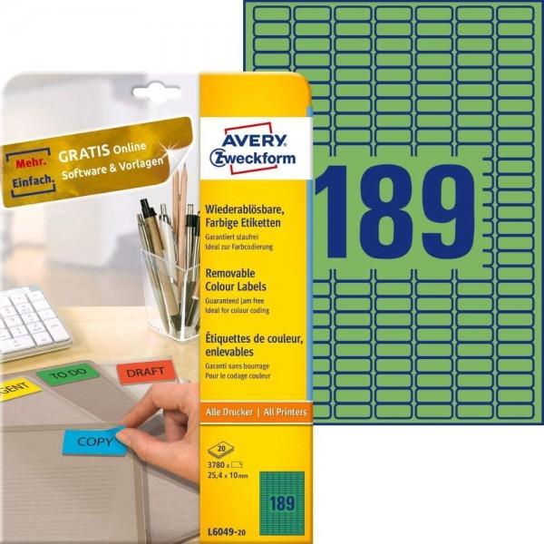 AVERY Zweckform L6049-20 Grüne Etiketten (3.780 Aufkleber, 25,4x10mm auf A4, wieder rückstandsfrei a