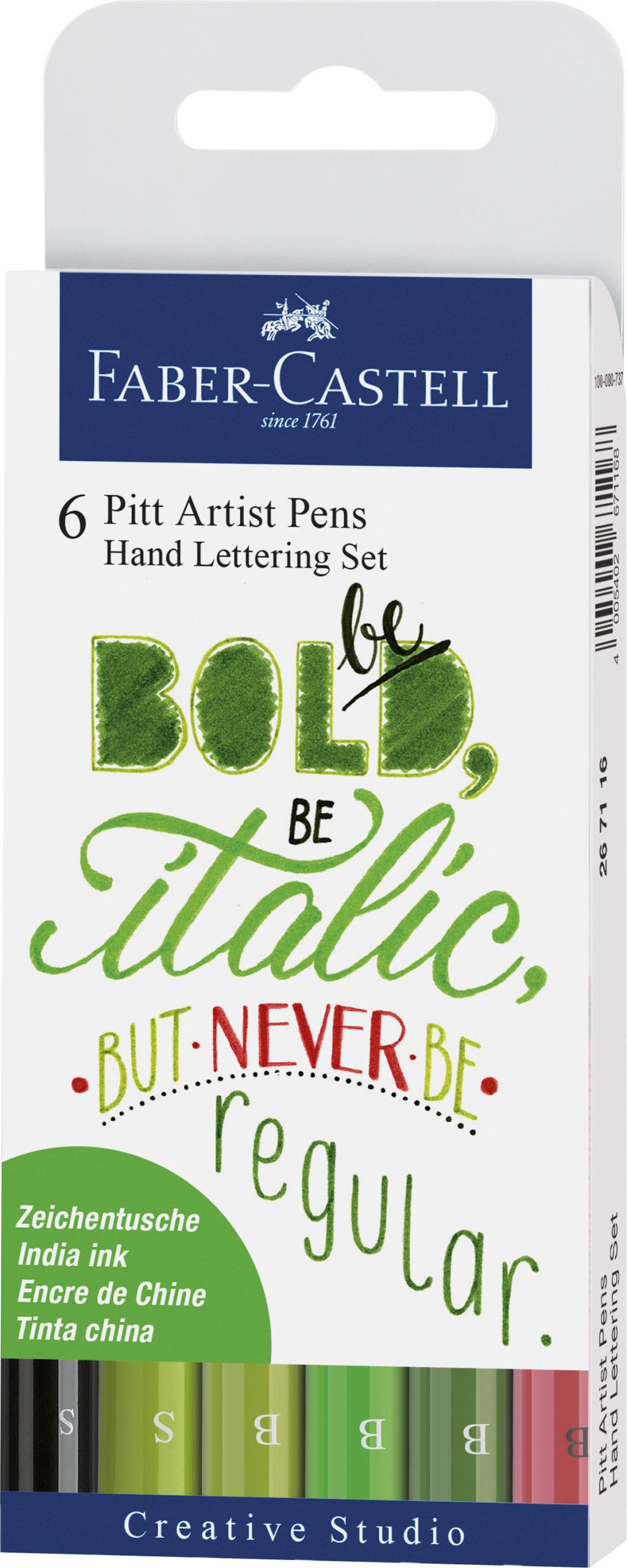 Farber-Castell Pitt Artist Pen Handlettering 6er Etui, Grüntöne #Lettering