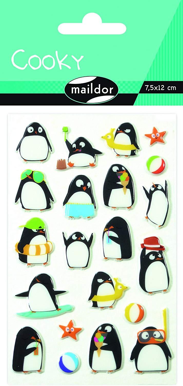 Maildor CY062O PINGUIN Packung mit Stickers Cooky 3D (1 Bogen, 7,5 x 12 cm, ideal zum Dekorieren, Sa