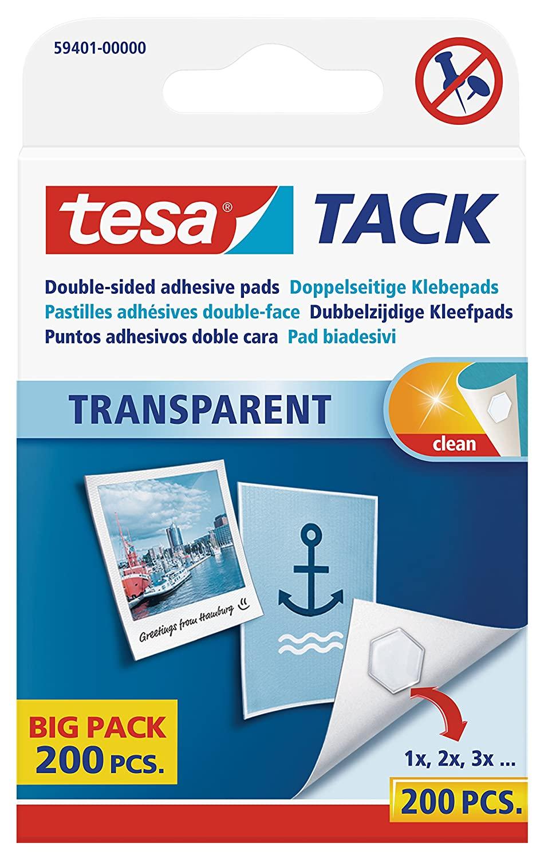tesa doppelseitige Klebepads TACK / Transparente Klebestreifen zum Aufhängen an Wänden, Fenstern und