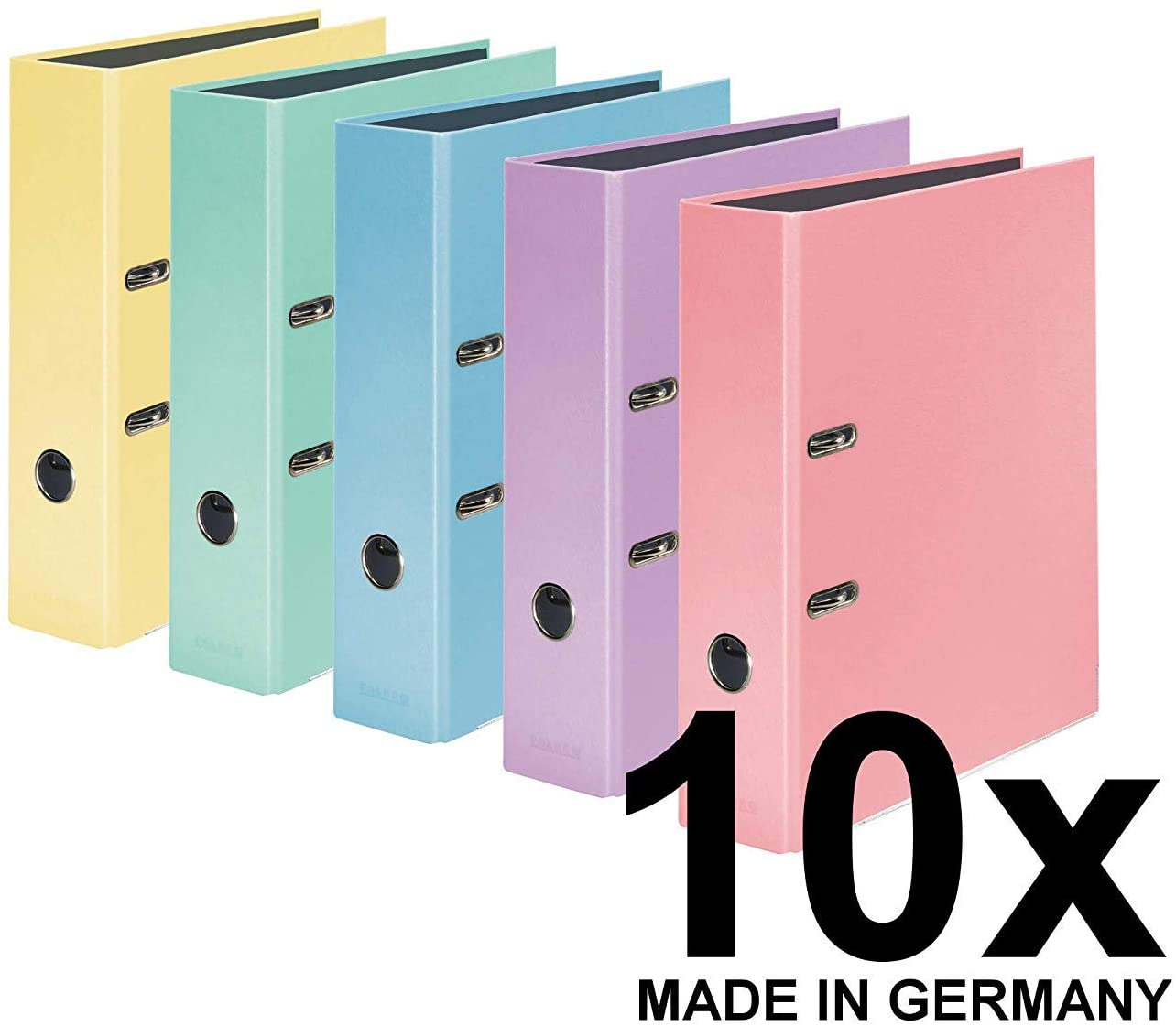 Original Falken 10er Pack PastellColor-Ordner. Made in Germany. 8 cm breit DIN A4 Pastell-Farbe farb