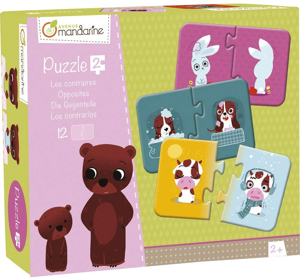 Avenue Mandarine JE503O Set mit 12 Puzzles 2-teilig, praktisch, spielerisch und farbenfroh, ideal fü