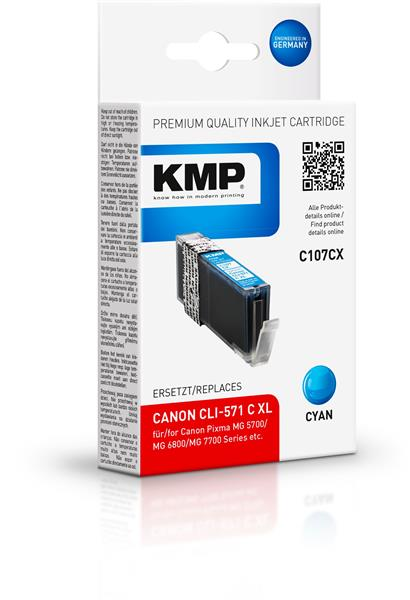 KMP Patrone C107CX komp. CLI571CXL für Canon Pixma MG 5700 cyan