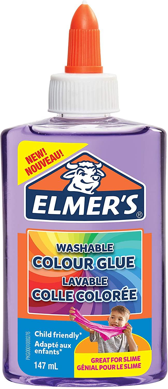 Elmer's transparenter, farbiger PVA-Kleber | lila | 147 ml | auswaschbar | ideal zur Herstellung von
