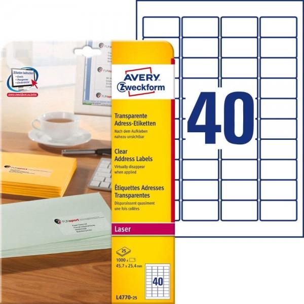 AVERY Zweckform L4770-25 Adressetiketten/Adressaufkleber (1.000 Etiketten, 45,7x25,4mm auf A4, bedru