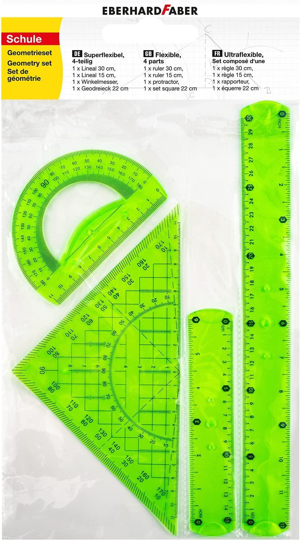 Eberhard Faber 570005 - Geometrie-Set mit 2 Linealen (ca. 15 cm und ca. 30 cm lang), Winkelmesser un