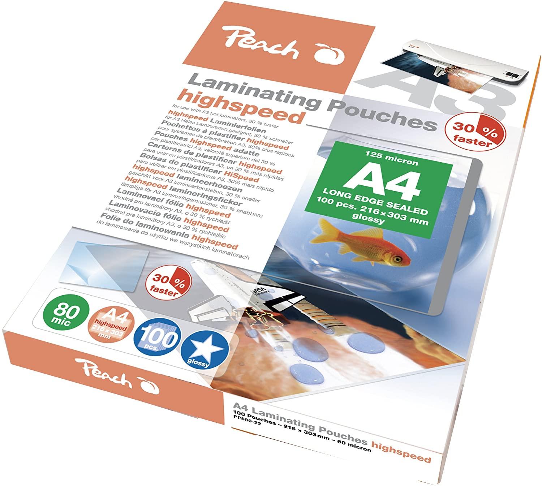 Peach PP580-22 HighSpeed Laminierfolien | DIN-A4 | 2 x 80 mic | 100 Laminierfolien | glänzendes Fini
