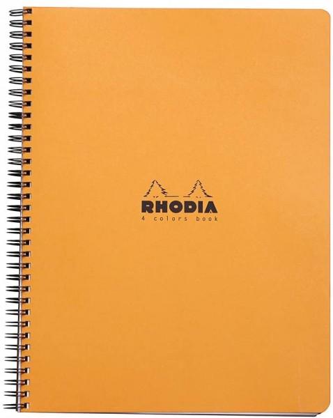 Rhodia 19330C 4 Colour Book (mit Spiralbindung, liniert mit Rand, 22,5 x 29,7 cm, 80 Blatt) 1 Stück