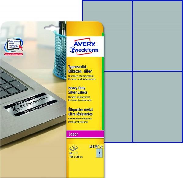 AVERY Zweckform L6134-20 Typenschild Folienetiketten (105x148 mm auf DIN A4, extrem stark selbstkleb