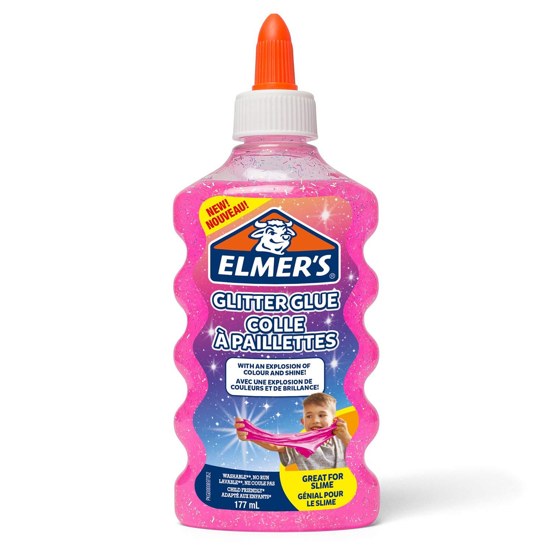 Elmer's Glitzerkleber, Pink, auswaschbar & Kinderfreundlich, 177ml. – Herstellung von Slime