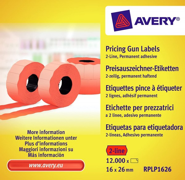 AVERY Zweckform RPLP1626 Preisauszeichner-Etiketten (12.000 Stück, 2-zeilig, 16 x 26 mm) 10 Rollen r