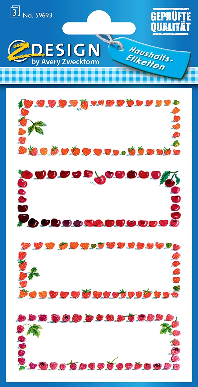 AVERY Zweckform 59693 Marmeladen Etiketten Obstrahmen (wiederablösbar) 12 Aufkleber