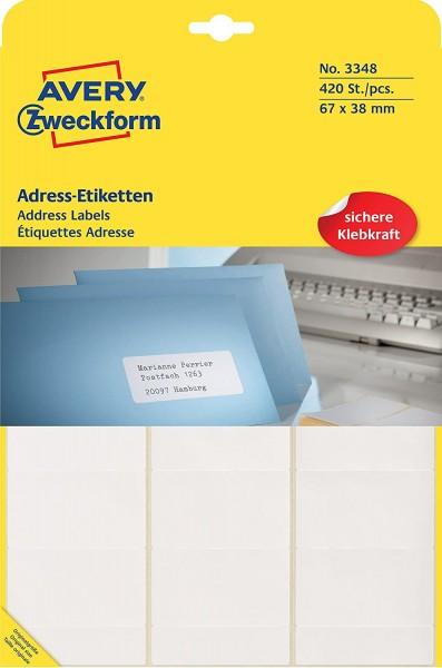 AVERY Zweckform 3348 Adress-Etiketten (Papier matt, 420 Etiketten, 67 x 38 mm) 1 Rolle weiß