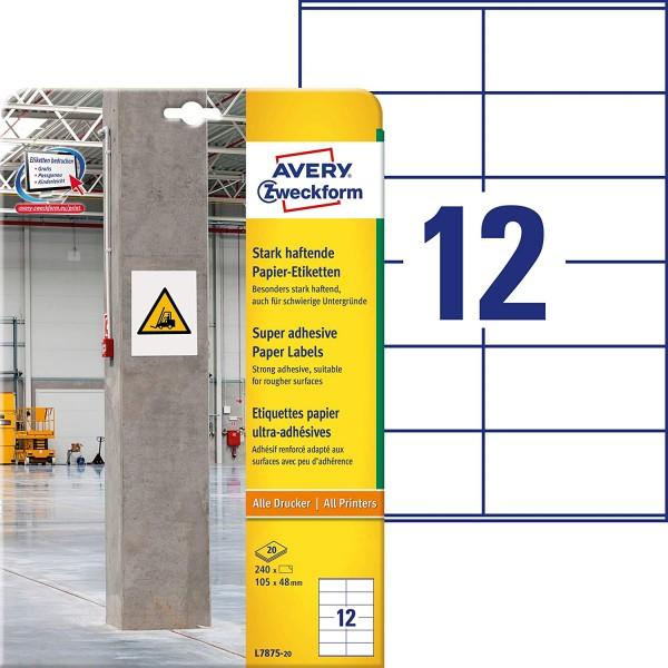 AVERY Zweckform L7875-20 Stark haftende Papieretiketten (A4, 240 Stück, stark haftend, 105 x 48 mm,