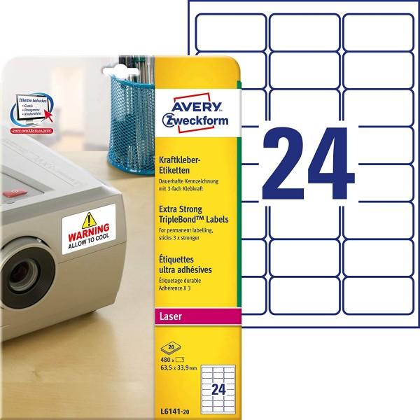 AVERY Zweckform L6141-20 Kraftkleber Etiketten (63,5x33,9 mm auf DIN A4, extrem stark selbstklebend,
