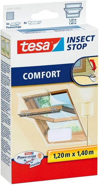 tesa Fliegengitter Comfort mit Clips für Dachfenster, 120 cm x 140 cm weiß