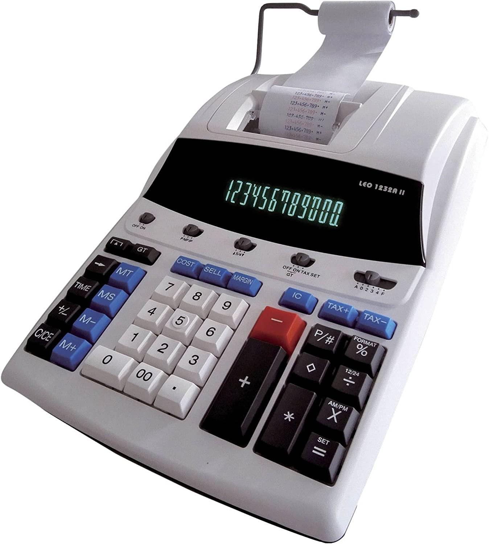 LEO 1232A II Tischrechner druckend zweifarbig inkl. Netzteil - 12 stellig - weiß