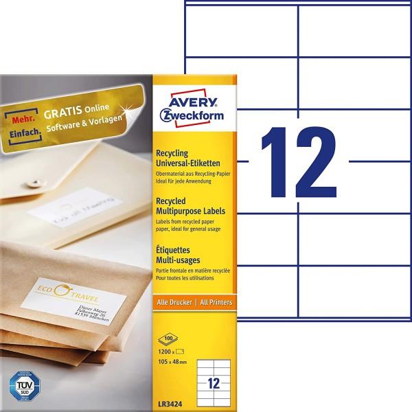 AVERY Zweckform LR3424 Recycling Etiketten (1.200 Adressaufkleber, 105x48mm auf A4, 100% recyceltes