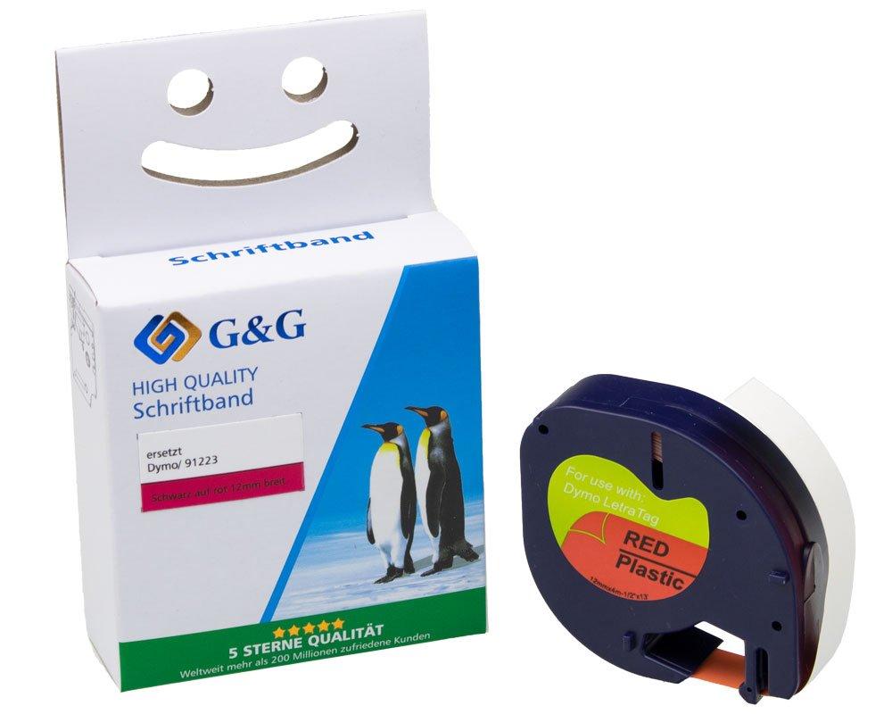 G&G Schriftband kompatibel zu Dymo D1/91223/S0721680 (12mm x 4m) schwarz auf rot KUNSTSTOFF