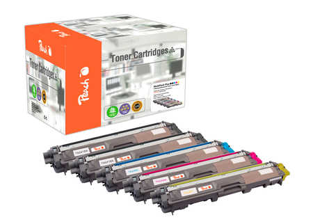 Peach Spar Pack Plus Tonermodule kompatibel zu Brother TN-241bk, TN-245