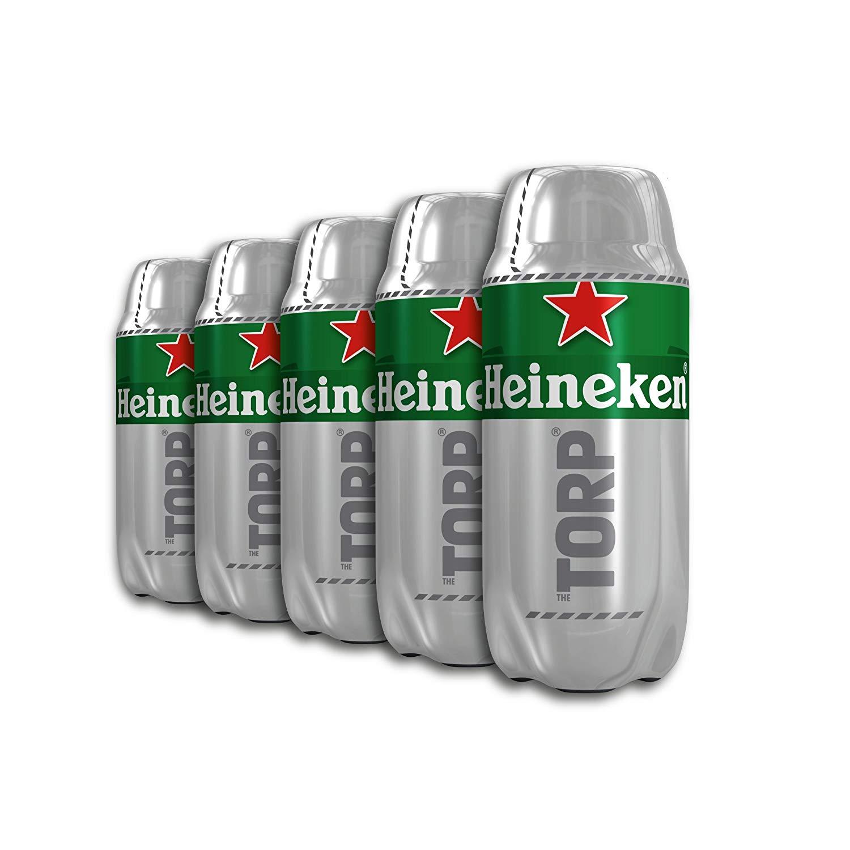 (3,80 €/L) Heineken TORP 5 x 2L Packung - Bierfass kompatibel mit der Bierzapfanlage THE SUB