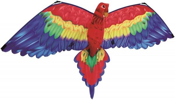 Paul Günther 1152 - 3D Drachen Papagei Cora, Einleinerdrachen mit farbenprächtigem Segel aus hochwer