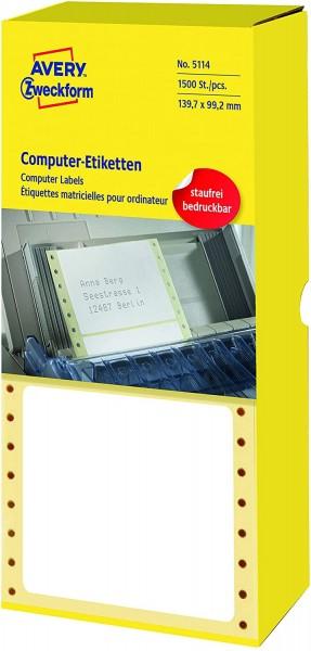 AVERY Zweckform 5114 Computer-Etiketten (Papier matt, 1,500 Etiketten, 139,7 x 99,2 mm) 1 Pack weiß