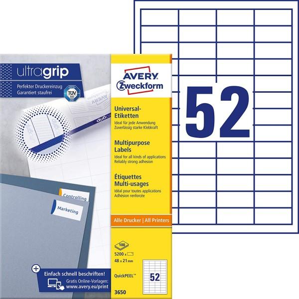 AVERY Zweckform 3650 Universal Etiketten (5.200 Klebeetiketten, 48x21mm auf A4, Papier matt, individ