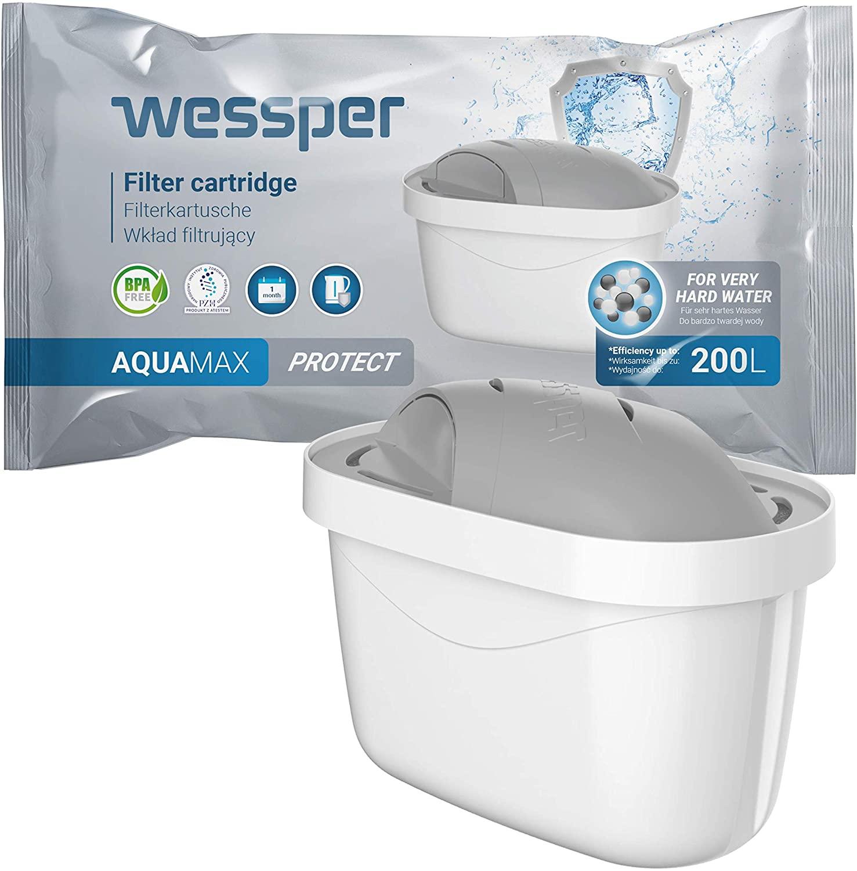 Wessper 4er Pack Wasserfilter Kartuschen für Hartes Wasser Kompatibel mit BRITA Maxtra+ Filter, Maxt