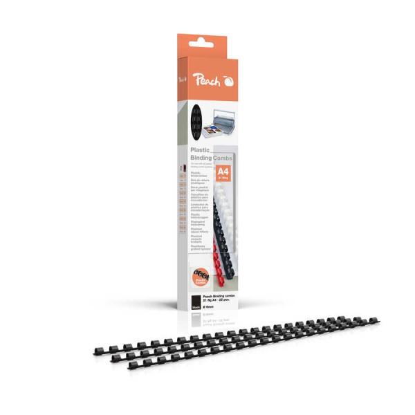 Peach Binderücken 6mm, für 25 Blatt A4, schwarz, 25 Stück, R-PB406-02