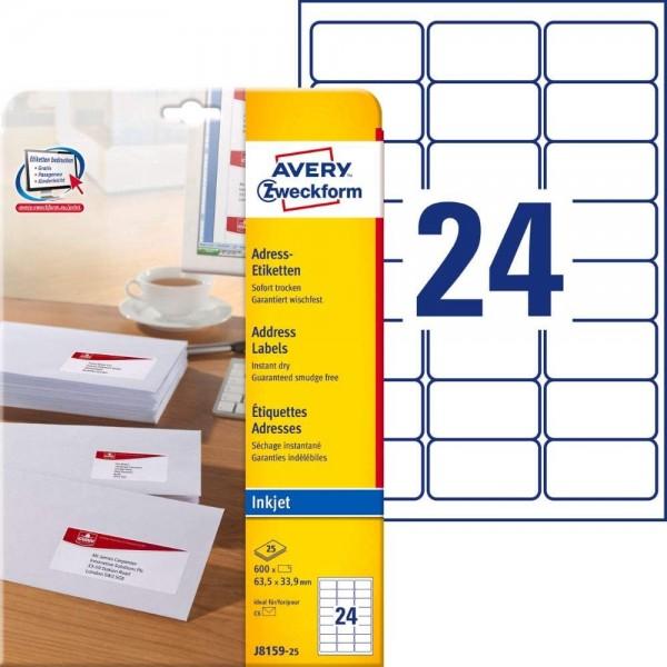 AVERY Zweckform J8159-25 Adressetiketten/Adressaufkleber (600 Etiketten, 63,5x33,9mm auf A4, bedruck