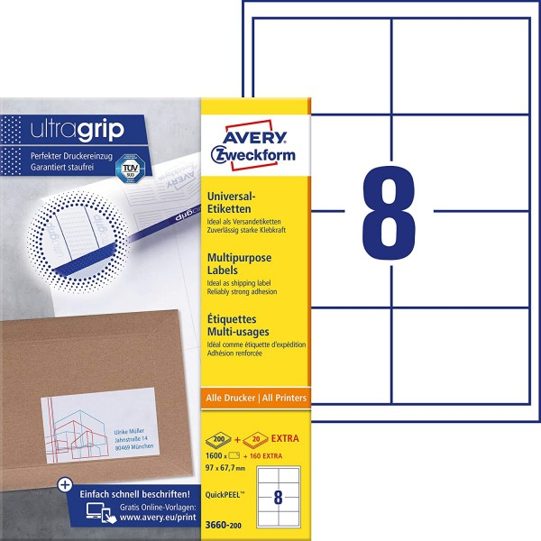 AVERY Zweckform 3660-200 Universal Etiketten (1.600 plus 160 Klebeetiketten extra, 97x67,7mm auf A4,