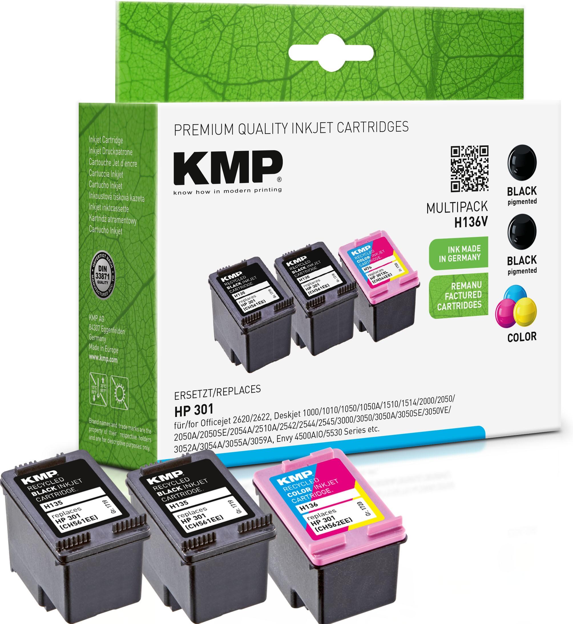 KMP Multipack H136V schwarz, farbig Tintenpatronen ersetzen HP Officejet/Deskjet HP301 (E5Y87EE)