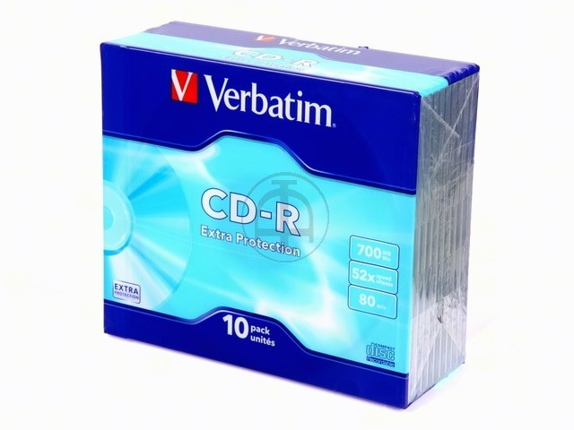 Verbatim CD-R Rohlinge - 700MB/80Min, 52-fach/Slim Case, Packung mit 10 Stück
