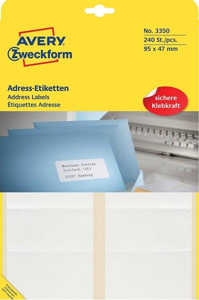 AVERY Zweckform 3350 Adress-Etiketten (Papier matt, 240 Etiketten, 95 x 47 mm, 20 Blatt) weiß