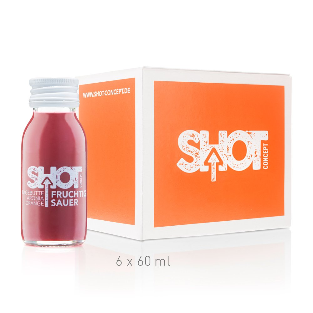 Shot Concept - Hagebutte + Aronia + Orange - Fruchtig Sauer, 6x60ml Glasflasche