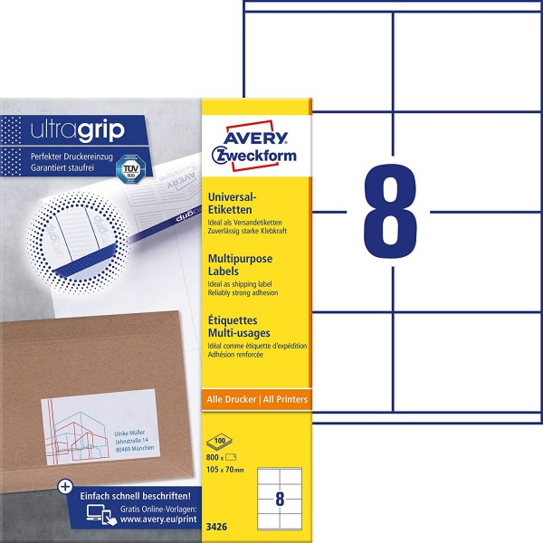 AVERY Zweckform 3426 Universal Etiketten (800 Klebeetiketten, 105x70mm auf A4, Papier matt, bedruckb