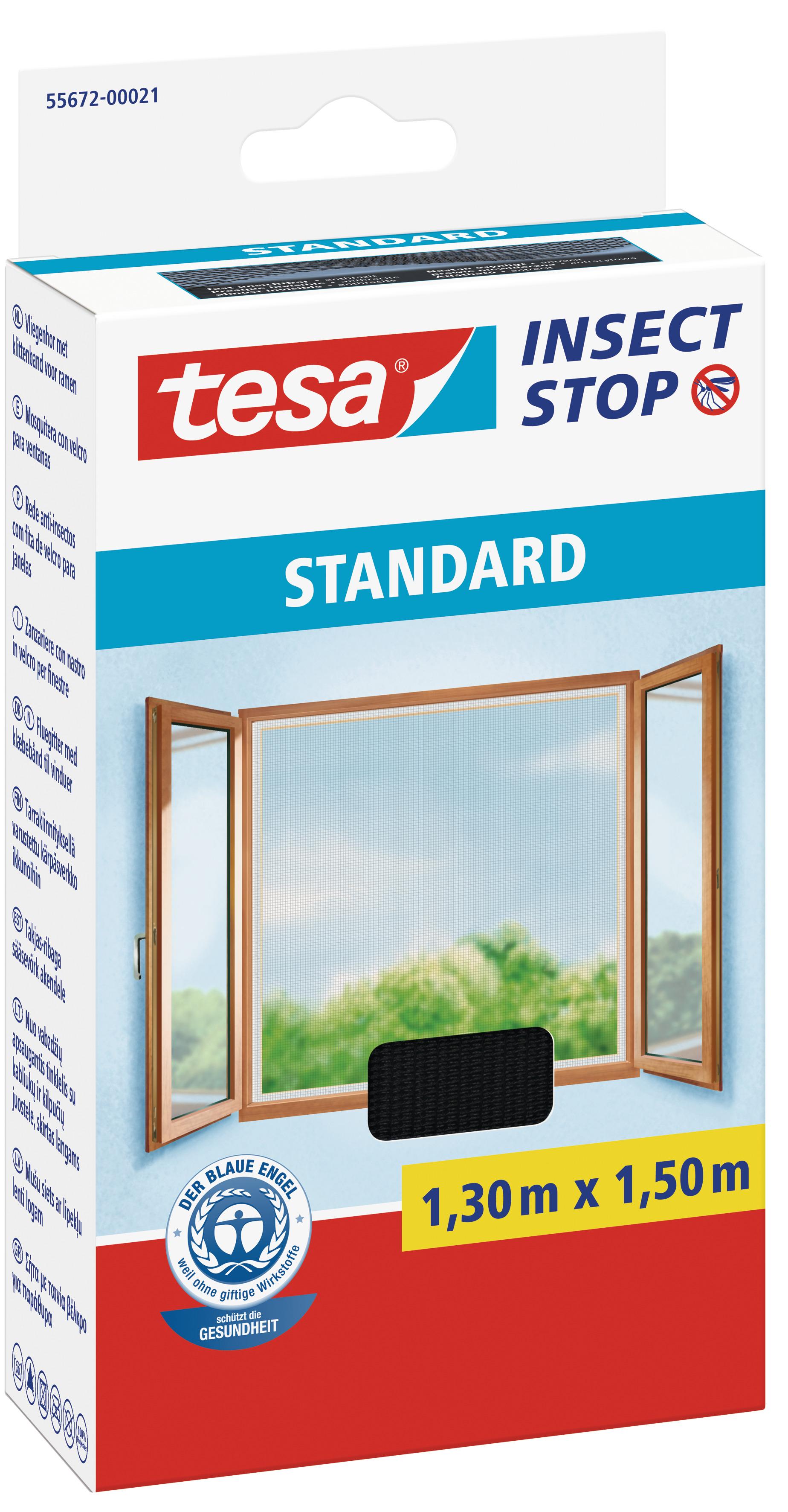 tesa Fliegengitter Standard Klettband für Fenster 1,3 m : 1,5 m, anthrazit