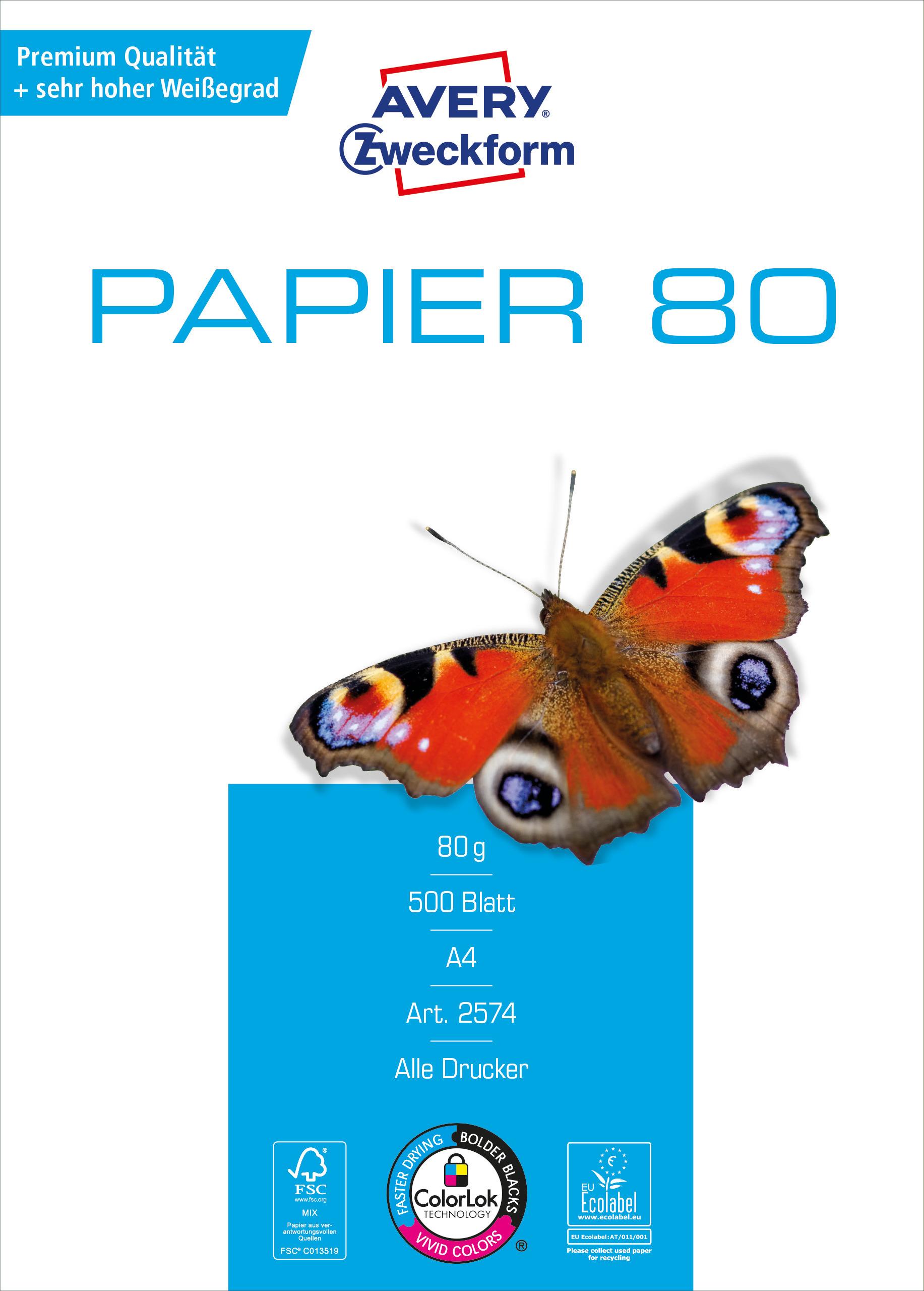 Vorschau: Avery Zweckform Papier 2574 - 80g/m² DIN-A4 500 Blatt weiß