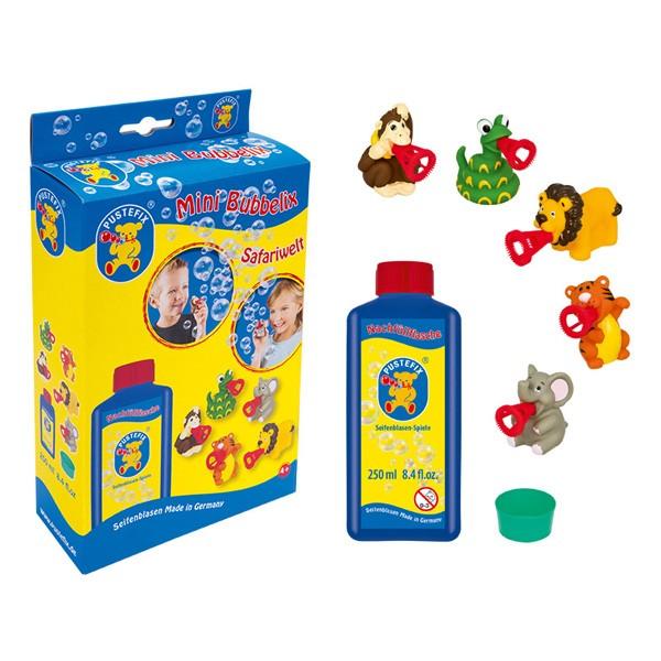 Pustefix – Mini Bubbelix Safariwelt + 250 ml Seifenblasenflüssigkeit - Seifenblasen – 5 Safaritiere